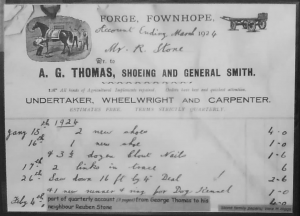 Old invoice from Thomas Forge